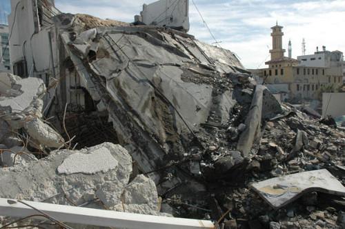 ハマス関連施設は徹底的に攻撃された(ガザ市内で筆者撮影)