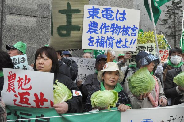 「このキャベツをどうしてくれるの?」農家の女性たちの顔は怒りでこわばっていた。(26日正午ごろ、東京電力本店前。写真:筆者撮影)