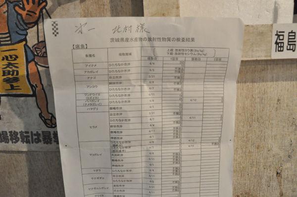 茨城沖で獲れた魚介類の放射線量を示す一覧表。ほとんどが不検出だ。(21日、築地市場。写真:筆者撮影)