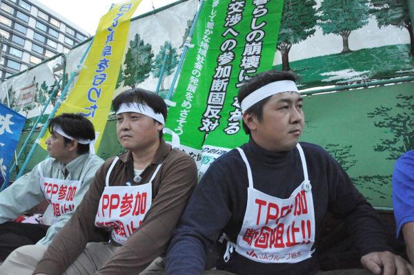 「TPPに加盟すると食糧自給率が上がる、なんて言うのは大間違いだ」。農業後継者たちは怒る。(写真:筆者撮影)