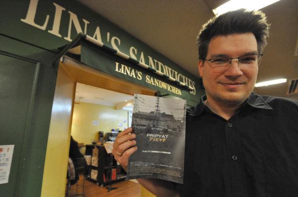 ニコラウス・ゲイハルター監督。上映会の後は長崎・軍艦島に撮影取材に行く予定だ。=3日、アテネフランセ。写真:筆者撮影=