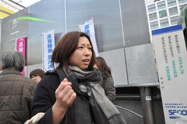 「東電の責任なのに私たちが負担するのはおかしい。図々しい」。女性は切々と語った。=写真:中野博子撮影=
