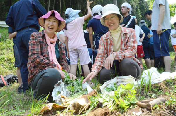 福島県富岡町のご近所同士で参加。収穫した山菜を嬉しそうに並べた。=写真:諏訪京撮影=