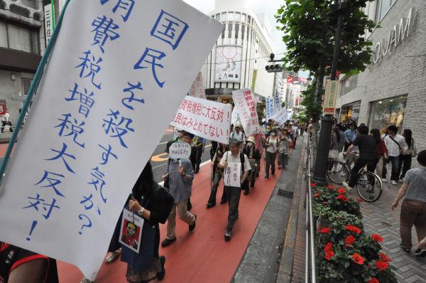 「家計を直撃するので消費税を上げないで」。生活感あふれるデモとなった。=写真:田中撮影=