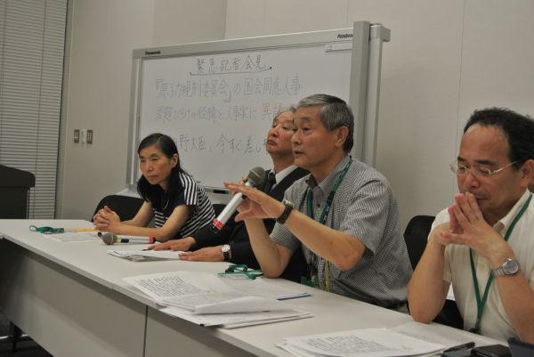 原子力規制委員会の人事に異議を唱える緊急記者会見。=24日、衆院会館。写真:田中撮影=