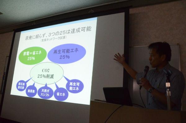 環境NPOの説明。「脱原発」「CO2削減」「経済成長」は可能である。=写真:田中撮影=