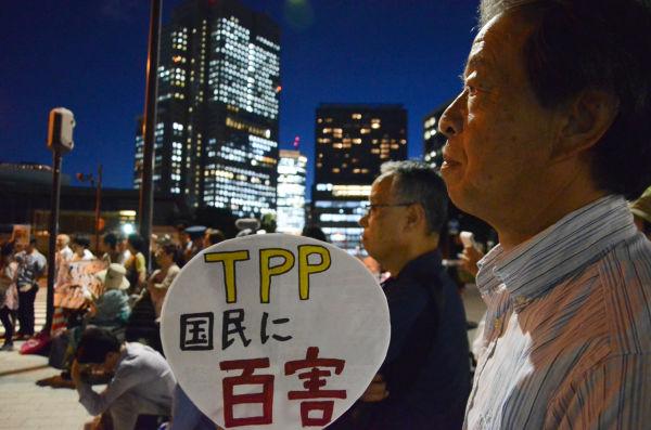 参加者の職業は多種にわたる。TPP問題のすそ野の広さを伺わせた。遠方から駆け付けた人も少なくなかった。(官邸前。写真:諏訪撮影)