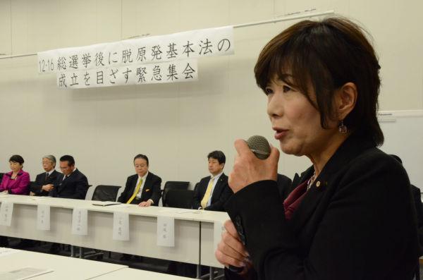 「生活」の森ゆう子議員は東電・柏崎刈羽原発を抱える新潟が選挙区だ。ドイツの脱原発事情を熱く語った。=写真:田中撮影=