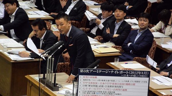 「(アーミテージ報告の)リクエスト通りではないか」。追及する山本議員。=19日、参院安保特委 写真:山本太郎事務所=