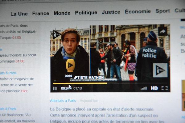 ベルギーからリポートするiTELEの記者。=iTELEホームページより=
