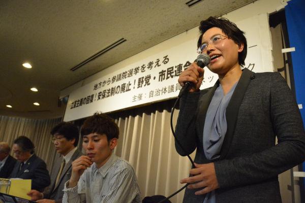 中村未央・沖縄県議会議員。「民意が否定されているのに国会議員は鈍感に安倍につき従っている」。=20日、撮影:筆者=