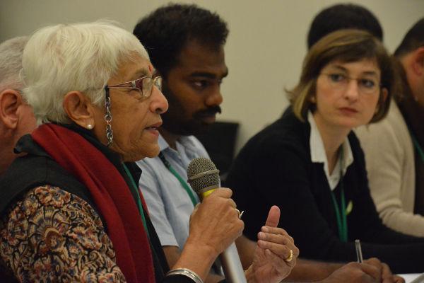 インド環境団体の女性は「すべて受入国にお任せですか?」と鋭く切り込んだ。=28日、衆院会館 撮影:筆者=