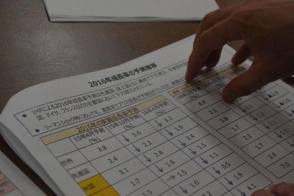 日本語のペーパーには4枚全部「リーマンショック」という解説が書き加えられた。英語版には「リーマン」という文字はない。=1日、衆院第4控室 撮影:筆者=