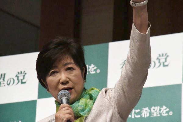 小池ゆり子・希望の党代表。安倍首相以上に独裁者と見る向きもある。=27日、都内 撮影:筆者=