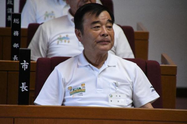 菅良二市長が真相を語れば、アベシンゾーとカケコウタロウの嘘が証明されるのだが。=昨年9月、今治市議会 撮影:筆者=
